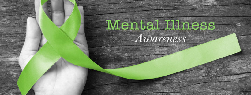 Mental illness awareness text with Lime Green ribbon color on helping hand on old aged wood background